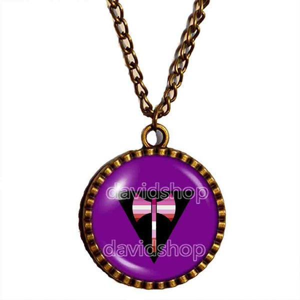 Labrys Lesbian Pride Necklace Pendant Jewelry Chain LGBT Flag Cosplay