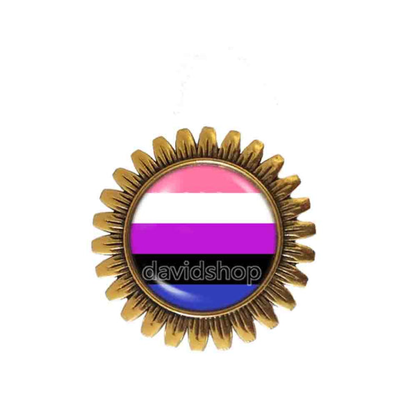 Genderfluid Pride Brooch Badge Pin Flag Cute Gift Fashion Jewelry Cosplay