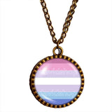Bigender Pride Necklace Pendant Fashion Jewelry Chain Flag