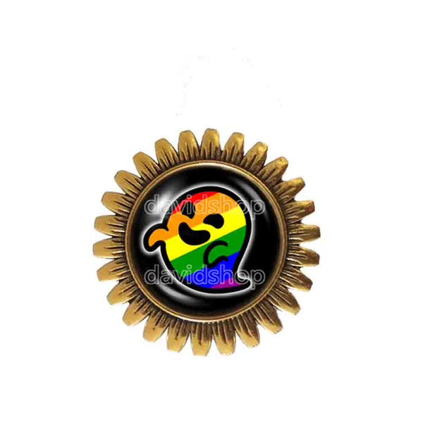 Gaysper Brooch Badge Pin Gay Pride Rainbow Flag Fashion Jewelry Cute LGBT LGBTQ Sign