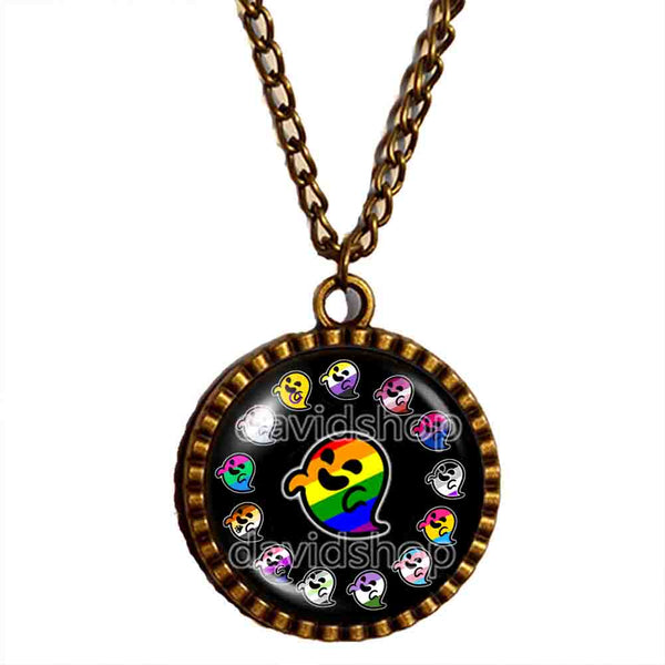 Lesbian Asexual Pansexual Agender Genderfluid Bigender Intersex Non Binary Gay Pride Flag Gaysper Necklace Pendant Jewelry Cute LGBT LGBTQ