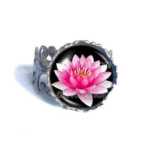 Lotus Flower Ring Symbol Poster Photo Pendant Fashion Jewelry Yoga Charms Woman