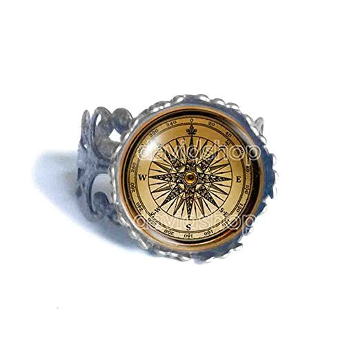 Antique Vintage Nautical Compass Ring Photo Art Glass Fashion Jewelry Cosplay