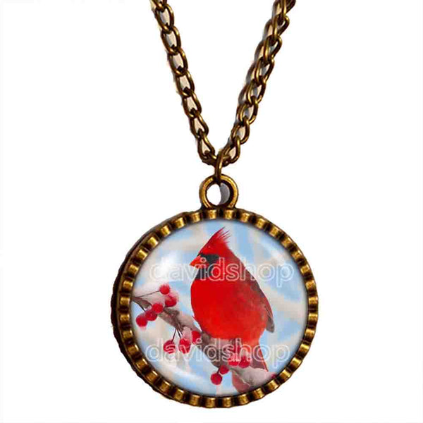 Red Cardinal Necklace Glass Pendant Fashion Jewelry Winter Snowy Cosplay Cute Gift