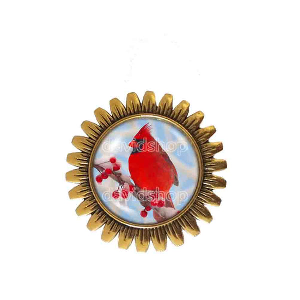 Red Cardinal Brooch Badge Pin Glass Pendant Fashion Jewelry Winter Snowy Cosplay Cute Gift
