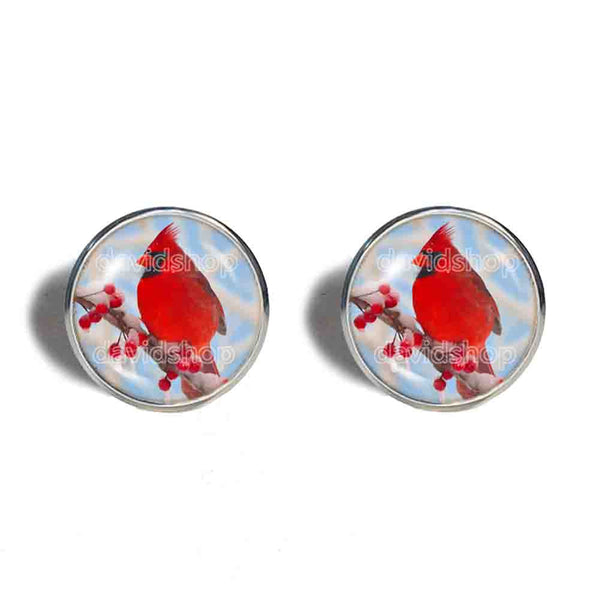 Red Cardinal Cufflinks Cuff links Fashion Jewelry Winter Snowy Cosplay Cute Gift