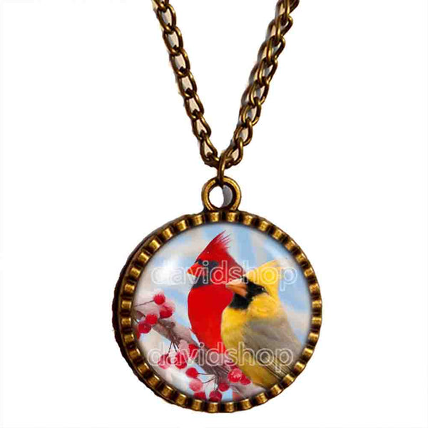 Red Cardinal Necklace Glass Pendant Fashion Jewelry Winter Snowy Cosplay Cute Gift Love Yellow Bird