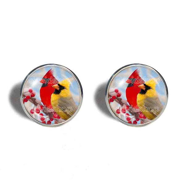 Red Cardinal Cufflinks Cuff links Fashion Jewelry Winter Snowy Cosplay Cute Gift Love Yellow Bird