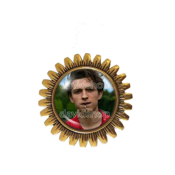 Tom Holland Brooch Badge Pin Charm Photo Art Glass Pendant Fashion Jewelry Cosplay Love