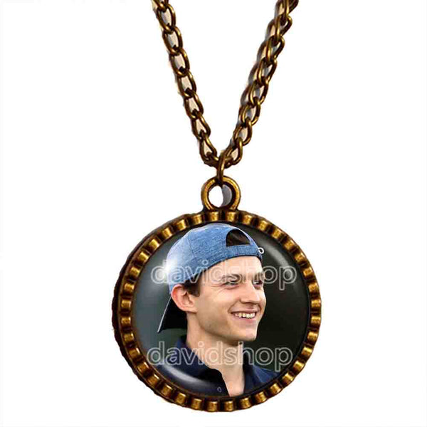 Tom Holland Necklace Photo Art Glass Pendant Fashion Jewelry Cosplay Love