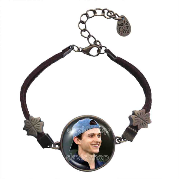 Tom Holland Bracelet Symbol Photo Art Glass Pendant Fashion Jewelry Cosplay Love