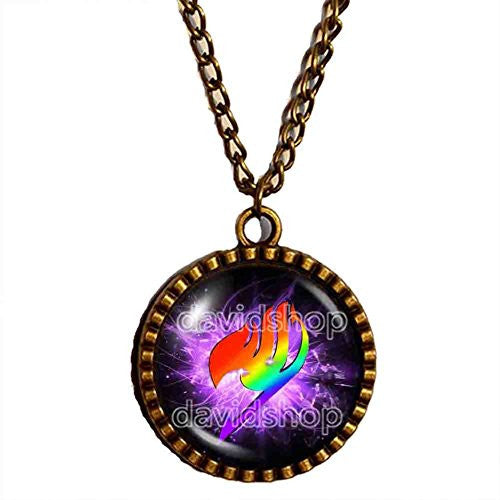 Fairy Tail Guild Symbol Necklace Logo Mark Pendant Rainbow Wing Natsu Dragneel