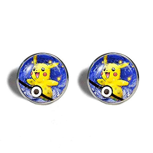 Pokemon Pikachu Cufflinks Cuff links Anime Fashion Pokeball Jewelry Cosplay Gift Cute Poke ball
