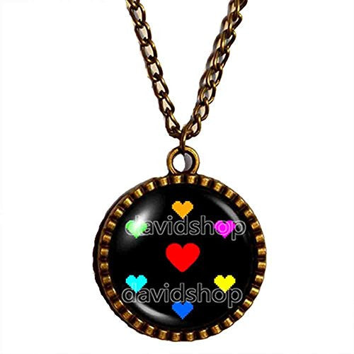 Undertale Necklace Pendant Charm Cosplay Undyne Heart Courage Spirit