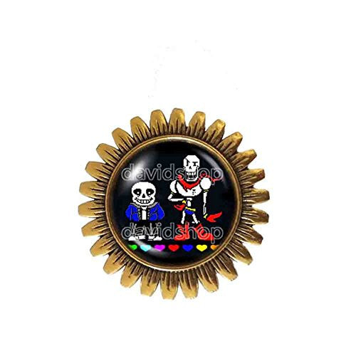 Undertale Sans Papyrus Brooch Badge Pin Pendant Skeleton Brother Jewelry Cosplay Red Heart Blue Pink