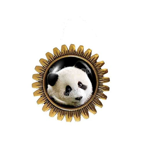 Baby Panda Brooch Badge Pin Black and White Bear Pendant Fashion Jewelry Cute Animal Cosplay