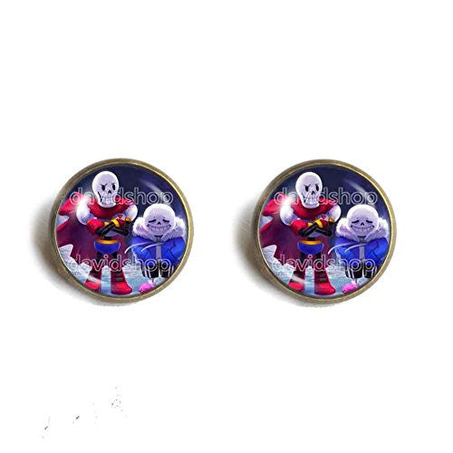 Undertale Ear Cuff Earring Glass Pendant Fashion Jewelry Game Sans Papyrus Skull New