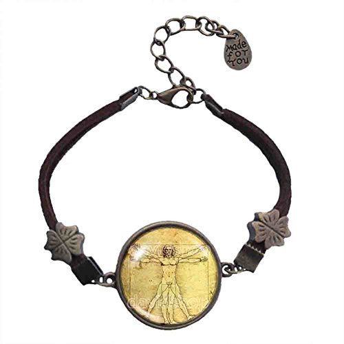 Vitruvian Man Bracelet Symbol Picture Art Pendant Fashion Jewelry
