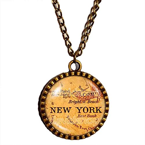 New York Map Necklace Pendant Jewelry