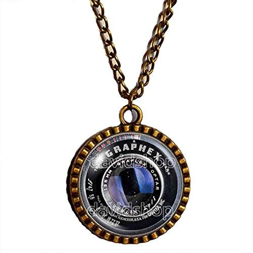 Vintage Old Camera Lens Necklace Symbol Picture Art Pendant Fashion Jewelry