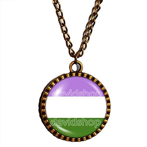 Genderqueer Pride Necklace Pendant Flag Non-Binary Jewelry