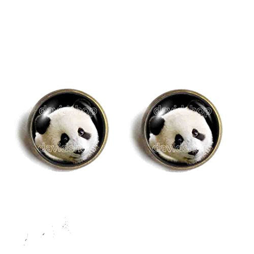 Baby Panda Ear Cuff Earring Black and White Bear Pendant Fashion Jewelry Cute Animal Cosplay