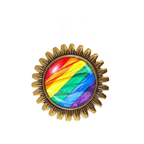 Gay Pride Rainbow Flag Brooch Badge Pin Fashion Jewelry Cosplay Charm Gift