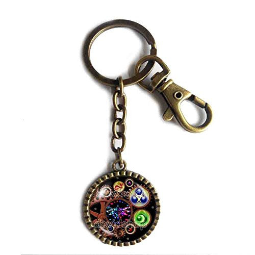 The Legend Of Zelda Triforce Keychain Keyring Ocarina of Time Gear Steampunk