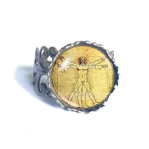Vitruvian Man Ring Symbol Picture Art Fashion Jewelry