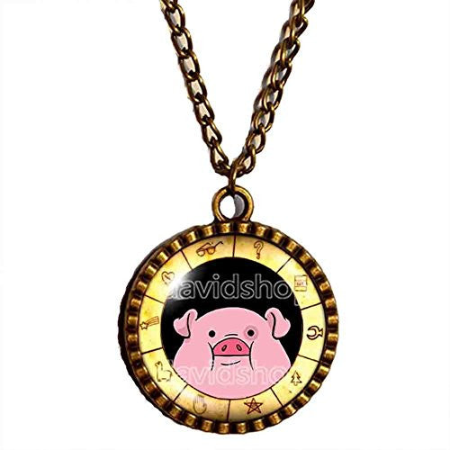 Gravity Falls Waddles Necklace Bill Cipher Wheel Pendant Pig Jewelry Cosplay Cute Gift