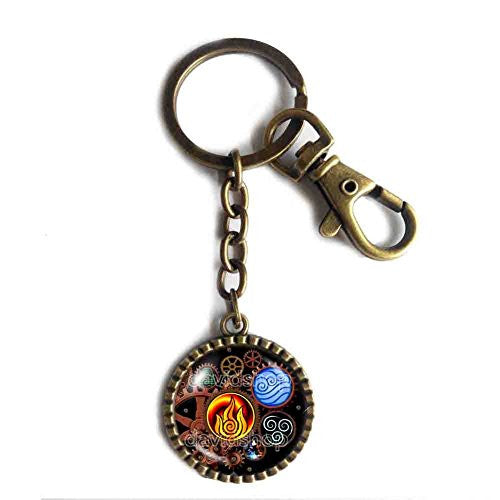 Avatar the last Airbender Keychain Keyring Fire Elements Water Tribe Legend of Korra Steampunk Gear