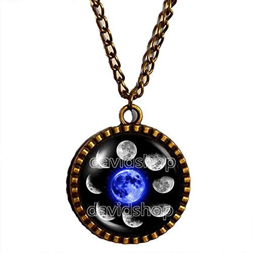 Moon Phases Necklace Pendant Fashion Jewelry Blue
