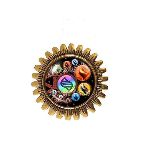 Pokemon Keystone Mega Stone Brooch Badge Pin Lucarionite Cosplay Steampunk Gear