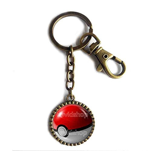 Pokemon Pokeball Keychain Keyring Car Cosplay Gift Cute Poke ball Red