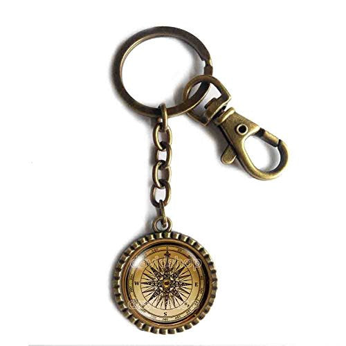 Antique Vintage Nautical Compass Keychain Key Chain Key Ring Cute Keyring Car Photo