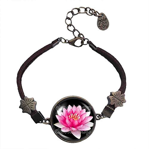 Lotus Flower Bracelet Spring Symbol Pendant Jewelry Yoga Charms Woman