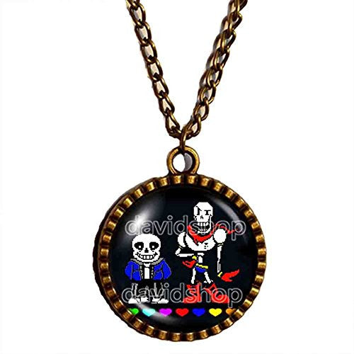 Undertale Sans Papyrus Necklace Pendant Skeleton Brother Jewelry Cosplay Red Heart Blue Pink