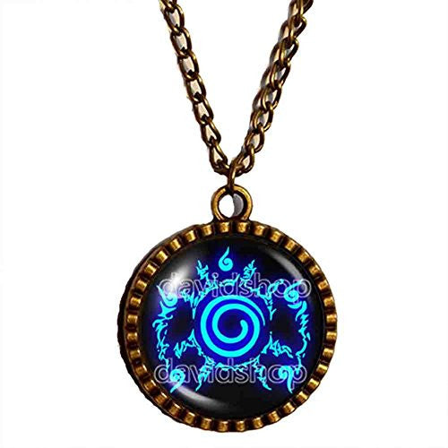 Naruto Seal Necklace Pendant Fashion Jewelry Anime Cosplay Symbol Blue
