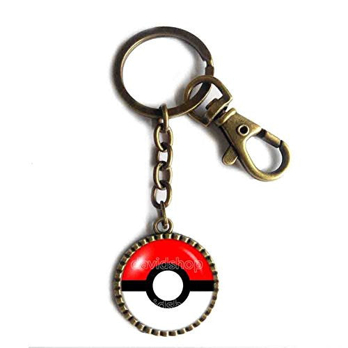 Pokemon Pokeball Keychain Keyring Car Cosplay Gift Cute Poke ball Red White