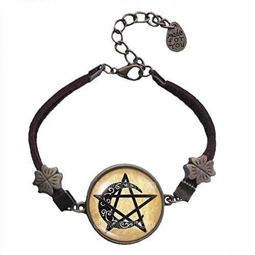 Wiccan Symbol Bracelet Pentacle Moon Pendant Fashion Jewelry Cosplay