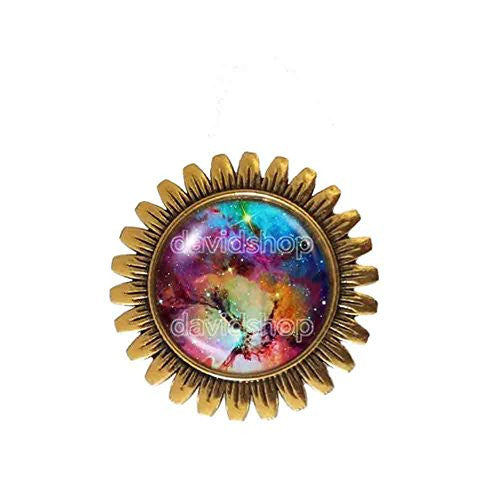 Astronomy Galaxy Brooch Badge Pin Astrology Constellation Andromeda Nebula Planet Space Universe