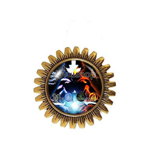 Avatar the last Airbender Brooch Badge Pin Fire Elements Water Tribe Earth Kingdom