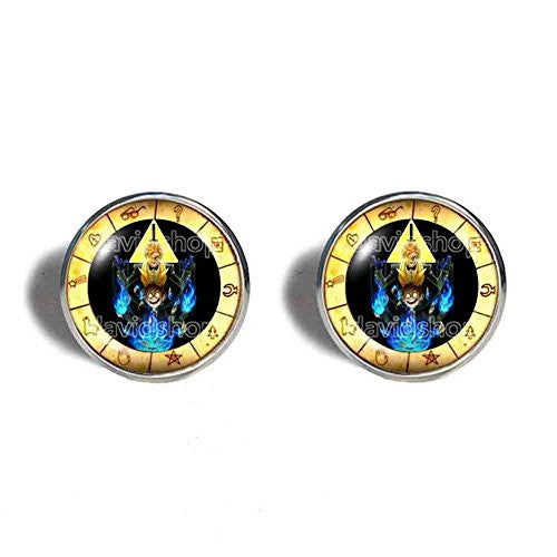 Gravity Falls Bill Cipher Wheel Cufflinks Cuff links Symbol Jewelry Dipper Pines Gift