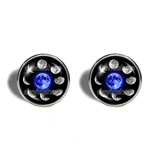 Moon Phases Cufflinks Cuff links Fashion Jewelry Mens Blue