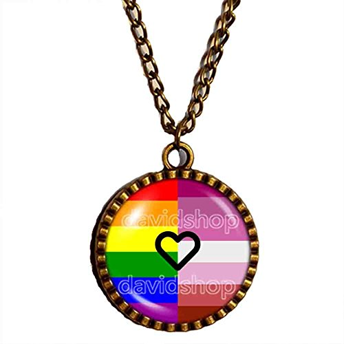 Gay Lesbian Pride Necklace Pendant LGBT Flag Jewelry