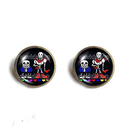 Undertale Sans Papyrus Ear Cuff Earring Skeleton Brother Red Heart Blue Pink