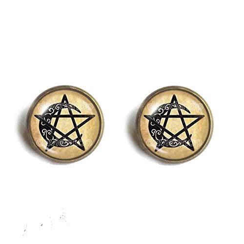 Wiccan Symbol Ear Cuff Earring Pentacle Moon Pendant Fashion Jewelry Cosplay
