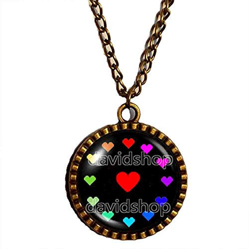 Undertale Necklace Pendant Jewelry Game Charm Cosplay Undyne Colorful Love Heart Shaped