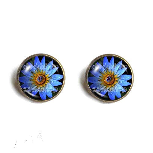 Blue Lotus Flower Ear Cuff Earring Symbol Poster Photo Pendant Fashion Jewelry Yoga Charms Woman