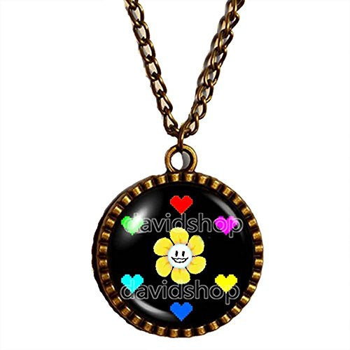 Undertale Necklace Art Glass Flowey Pendant Jewelry Game Yellow flowers Red Heart